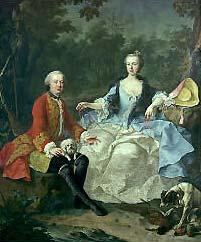 Le Comte Giacomo Durazzo avec sa femme (1717 – 1794), peinture de Martin van Meytens le jeune, vers 1760