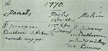 Certificado de Bautismo de Ludwig van Beethoven