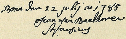 Signature de Johann van Beethoven, le 22 juillet 1785...