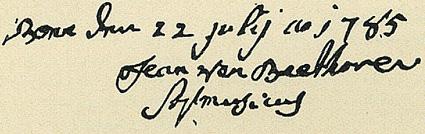 Firma de Johann van Beethoven