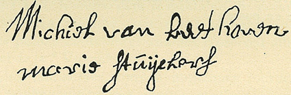 Signature de Michael van Beethoven et Maria Stuyckers le 12 mars 1741...