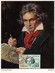 Beethoven : le timbre Français du 27 avril 1963 en maxicarte...